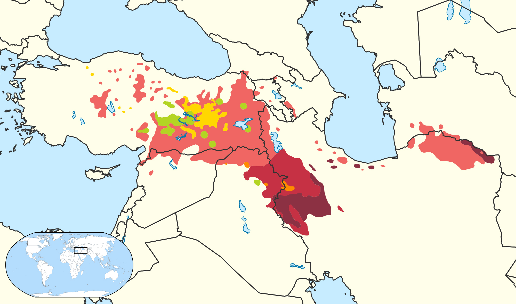 Kurdish languages map